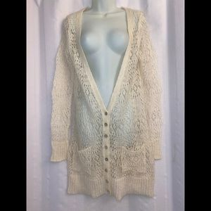 Free People Long Mohair Blend Open Knit Cardigan